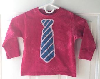 Boys Tie Shirt, Girls Tie Shirt, Kids Tie Shirt, Kids Shirt with Tie, Boys Shirt with Tie, Tie Shirt, Batik Tie Shirt, Patriotic Shirt (3T)