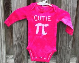 Cutie Pi Baby Bodysuit, Pink Pi Day Baby Shirt, Math Baby Gift, Baby Girl Pi Day, Baby Girl Cutie Pi, Hot Pink Cutie Pi Bodysuit (3 months)