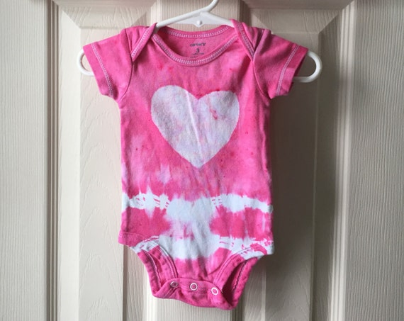 Pink Baby Shower Gift, Baby Girl Gift, Pink Baby Bodysuit, Pink Baby Gift, Baby Shower Gift, Tie Dye Baby Bodysuit (3 months)