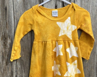 Baby Star Dress, Yellow Baby Dress, Long Sleeve Baby Dress, Celestial Baby Dress, Batik Baby Dress, Girls First Birthday Gift (12 months)