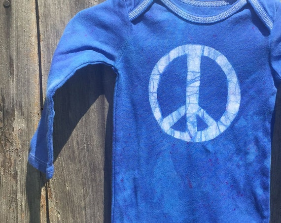 Peace Sign Baby Bodysuit, Blue Peace Sign, Baby Boy Peace Sign, Baby Girl Peace Sign, Gender Neutral Baby Gift, Peace Baby Gift (12 months)