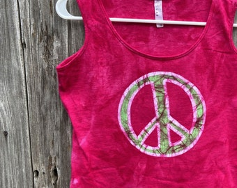 Peace Sign Tank Top, Peace Tank Top, Ladies Peace Sign Shirt, Womens Peace Sign Shirt, Ladies Tank Top, Womens Tank Top, Pink Peace Sign (M)