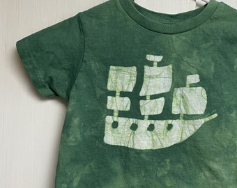 Pirate Shirt, Pirate Ship Shirt, Green Pirate Shirt, Kids Pirate Shirt, Boys Pirate Shirt, Girls Pirate Shirt, Green Kids Shirt (3T)