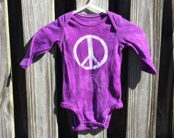 Peace Sign Baby Bodysuit, Purple Peace Sign, Baby Boy Peace Sign, Baby Girl Peace Sign, Gender Neutral Baby Gift, Peace Baby Gift (3 months)