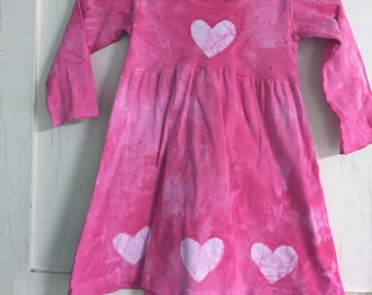 Valentine's Day Dress, Girls Valentine's Day Dress, Pink Girls Dress, Pink Hearts Dress, Girls Dress with Hearts, Long Sleeve Dress (4T)