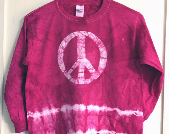 Kids Peace Sign Shirt, Pink Peace Sign Shirt, Fuchsia Peace Shirt, Batik Kids Shirt, Batik Peace Sign Shirt, Peace Kids Shirt (8)