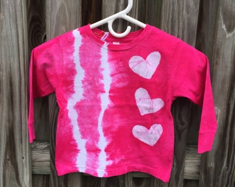 Pink Tie Dye Shirt, Girls Tie Dye Shirt, Batik Tie Dye Shirt, Pink Girls Shirt, Pink Heart Shirt, Girls Birthday Gift, Long Sleeves (3T)