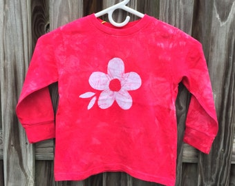 Flower Girls Shirt, Flower Girl Gift, Red Flower Girl Shirt, Girls Flower Shirt, Red Girls Shirt, Long Sleeve Kids Shirt, Batik Shirt (4T)