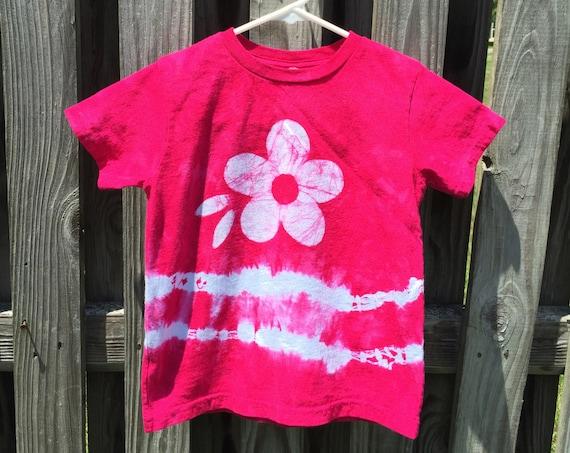 Flower Girl Gift, Flower Girl Shirt, Girls Flower Shirt, Pink Flower Shirt, Pink Girls Shirt, Girls Tie Dye Shirt, Batik Kids Shirt (4T)