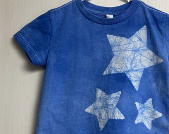 Kids Star Shirt, Boys Star Shirt, Girls Star Shirt, Kids Celestial Shirt, Blue Star Shirt, Batik Star Shirt, Toddler Star Shirt (3T)
