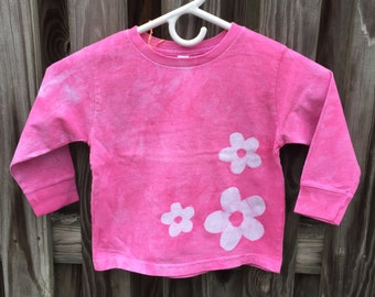 Flower Girls Shirt, Pink Flower Girls Shirt, Girls Flower Shirt, Pink Girls Shirt, Long Sleeve Girls Shirt, Batik Girls Shirt (3T)