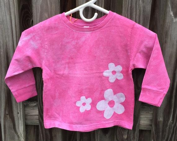 Flower Girls Shirt, Pink Flower Girls Shirt, Girls Flower Shirt, Pink Girls Shirt, Long Sleeve Girls Shirt, Batik Girls Shirt (3T)