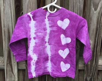 Tie Dye Kids Shirt, Purple Kids Shirt, Purple Heart Shirt, Purple Girls Shirt, Purple Boys Shirt, Batik Heart Shirt (4T)