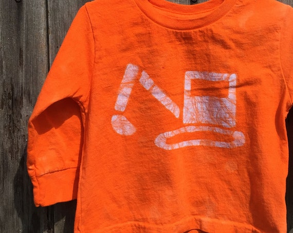 Kids Truck Shirt, Boys Truck Shirt, Girls Truck Shirt, Kids Excavator Shirt, Orange Excavator Shirt, Kids Digger Shirt, Neon Truck (2T)