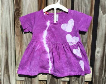 Purple Baby Dress, Tie Dye Baby Dress, Purple Baby Outfit, Baby Girls Dress, Purple Heart Dress, Girls First Birthday Gift (18 months)