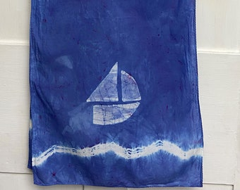 Sailboat Scarf, Boat Scarf, Nautical Scarf, Cotton Scarf, Nautical Boat Scarf, Teacher Gift, Mothers Day, Tie Dye Scarf, Gift for Mom