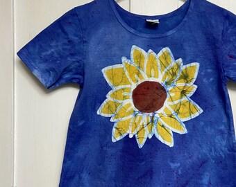 Girls Sunflower Dress, Girls Flower Dress, Blue Flower Dress, Batik Flower Dress, Flower Girls Dress, Yellow Flower Dress, Batik Dress (8)