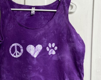 Dog Lovers Tank Top, Cat Lovers Tank Top, Peace and Love Tank Top, Animal Lovers Tank Top, Purple Ladies Tank Top, Women's Tank (XL)