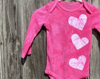 Pink Baby Gift, Baby Shower Gift, Baby Girl Gift, Pink Baby Bodysuit, Pink Heart Baby Bodysuit, Baby Valentine's Day Gift (9 months)