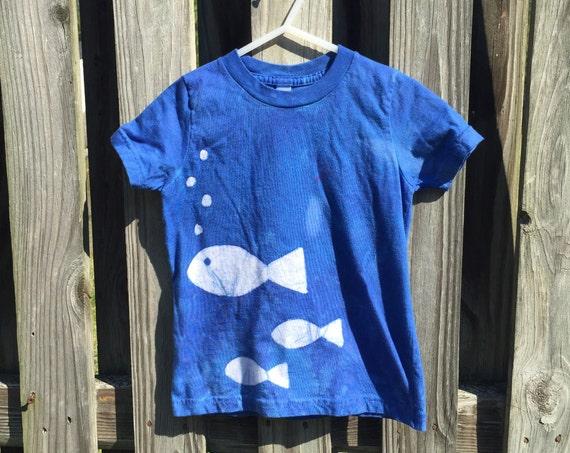 Kids Fish Shirt, Blue Fish Shirt, Boys Fish Shirt, Girls Fish Shirt, Ocean Fish Shirt, Batik Kids Shirt, American Made Kids Shirt (2)