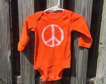 Peace Sign Baby Bodysuit, Peace Baby Bodysuit, Peace Sign Baby Gift, Orange Baby Bodysuit, Gender Neutral Baby Bodysuit (9 months)