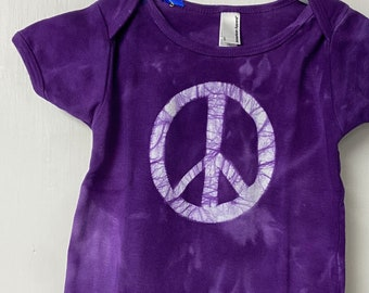 Baby Peace Sign Shirt, Peace Sign Shirt for Baby, Peace Sign Baby Gift, Purple Baby Gift, Gender Neutral Baby Gift, Purple Peace Shirt (18m)