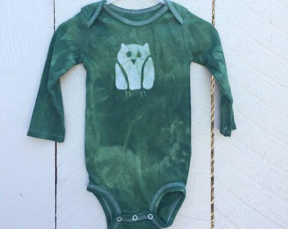 Owl Baby Bodysuit, Owl Baby Gift, Baby Owl Gift, First Birthday Gift, Green Baby Gift, Green Owl Baby Bodysuit (12 months)