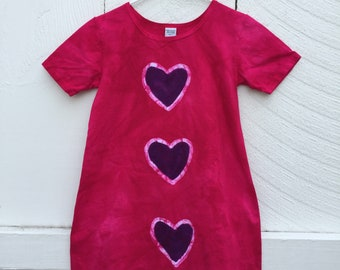 Pink Girls Dress, Girls Pink Dress, Short Sleeve Girls Dress, Girls Heart Dress, Back to School Dress, Girls Batik Dress (8)