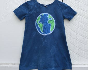 Earth Day Dress, Earth Dress, Girls Earth Day Dress, Girls Earth Dress, Batik Girls Dress, Short-Sleeve Girls Dress, Girls Globe Dress