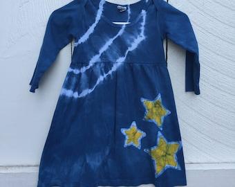 Girls Star Dress, Yellow Star Dress, Blue Star Dress, Blue Girls Dress, Long Sleeve Girls Dress, Batik Girls Dress, Celestial Dress (4T)