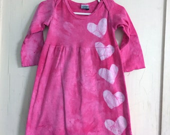 Valentine's Day Dress, Baby Valentine's Day Dress, Pink Girls Dress, Pink Heart Dress, Tie Dye Baby Dress, Pink Baby Dress (18 months)