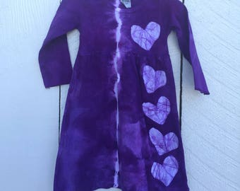 Tie Dye Baby Dress, Tie Dye Girls Dress, Purple Baby Dress, Purple Girls Dress, Purple Heart Dress, Girls First Birthday Gift (12 months)