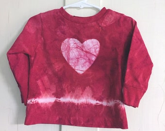 Kids Valentine's Day Shirt, Red Heart Shirt, Red Tie Dye Kids Shirt, Boys Valentine's Day Shirt, Girls Valentine's Day Shirt (18 months)