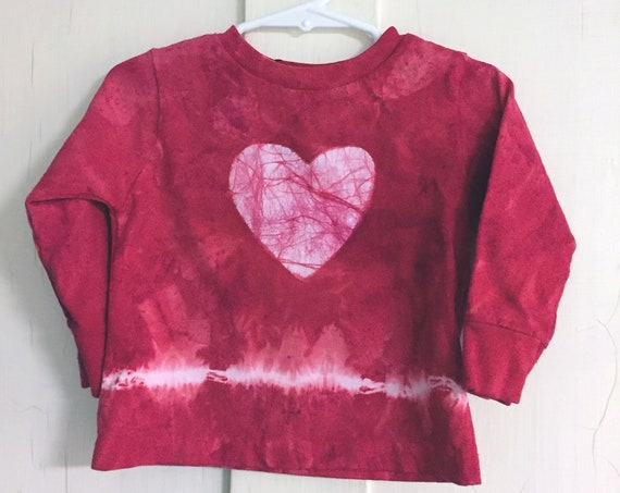 Kids Valentine's Day Shirt, Red Heart Shirt, Red Tie Dye Kids Shirt, Boys Valentine's Day Shirt, Girls Valentine's Day Shirt (18 months)