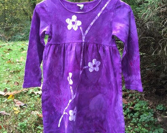 Flower Girls Dress, Purple Girls Dress, Batik Girls Dress, Long Sleeve Girls Dress, Purple Flower Dress, Girls Flower Dress (6)