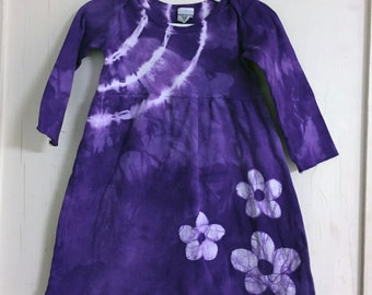 Girls Valentine's Day Dress, Purple Girls Dress, Flower Girls Dress, Purple Flower Dress, Girls Purple, Dress Tie Dye Dress (18 months)