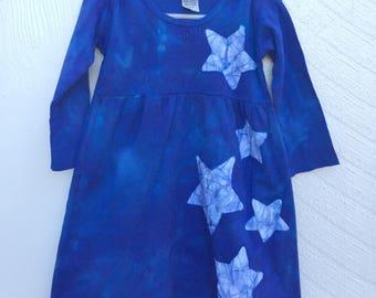 Girls Star Dress, Blue Girls Dress, Blue Star Dress, Celestial Girls Dress, Batik Girls Dress, Long Sleeve Dress , Toddler Girls Dress (2T)