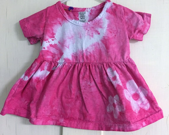 Pink Baby Dress, Tie Dye Baby Dress, Baby Girls Dress, Baby Girls Outfit, Pink Dress, Pink Baby Gift, Baby Shower Gift (6 months)