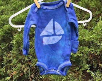 Preemie Baby Bodysuit, Preemie Boy Gift, Preemie Girl Gift, Sailboat Baby Bodysuit, Boat Baby Gift, Blue Sailboat Bodysuit, Preemie Baby