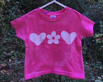 Valentine's Day Shirt, Girls Valentine Shirt, Pink Girls Shirt, Pink Toddler Shirt, Girls Pink Shirt, Girls Batik Shirt  (18 months)