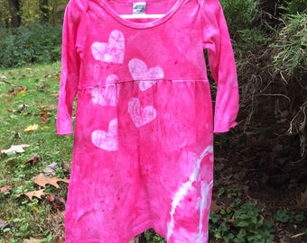 Pink Girls Dress, Pink Toddler Dress, Toddler Girls Dress, Pink Baby Dress, Long Sleeve Girls Dress, Pink Heart Dress, Tie Dye (18 months)