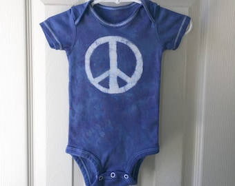 Peace Sign Baby Bodysuit, Blue Baby Peace Sign Bodysuit, Peace Sign Baby Gift, Baby Shower Gift, Gender Neutral Baby Gift (9 months)
