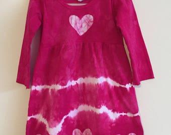 Tie Dye Girls Dress, Pink Girls Dress, Long Sleeve Girls Dress, Girls Tie Dye Dress, Girls Pink Dress, Pink Heart Dress (2T)