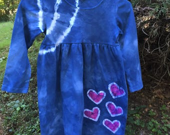Back to School Dress, Blue Girls Dress, Tie Dye Girls Dress, Pink Heart Dress, Batik Girls Dress, Long Sleeve Dress, Flower Girl Dress (6)