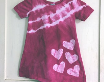 Pink Girls Dress, Tie Dye Girls Dress, Batik Hearts Girls Dress, Hot Pink Girls Dress, Girls Tie Dye Dress, Girls Pink Dress (4T)
