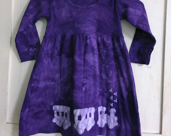 Purple Train Dress, Girls Train Dress, Long Sleeve Dress, Purple Girls Dress, Train Dress, Empire Waist Dress (4T)