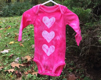 Pink Baby Shower Gift, Baby Girl Gift, Pink Baby Gift, Pink Baby Bodysuit, Pink Heart Bodysuit, Gift for Baby Girl (3-6 months)