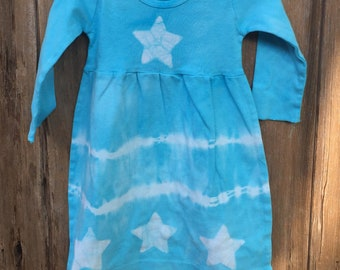 Baby Star Dress, Blue Baby Dress, Tie Dye Baby Dress, Celestial Baby Dress, Batik Baby Dress, Girls First Birthday Gift (12 months)