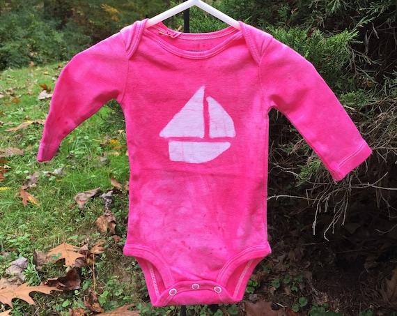 Pink Sailboat Bodysuit, Sailboat Baby Gift, Pink Boat Baby Gift, Boat Baby Bodysuit, Pink Baby Gift, Nautical Baby Gift (0-3 months)