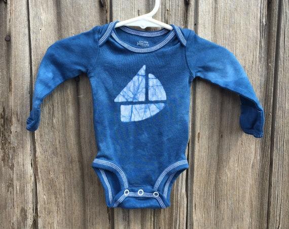 Newborn Baby Bodysuit, Baby Boy Gift, Baby Girl Gift, Sailboat Baby Bodysuit, Boat Baby Gift, Blue Sailboat Bodysuit, Baby Shower Gift